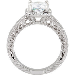 Cubic Zirconia Engagement Ring- The ________ Naming Rights 69-832 (1.16 TCW Vintage Customizable Halo)