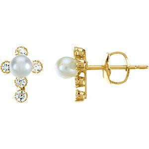 Cubic Zirconia Earrings- 0.36 Carat Youth Pearl & Cubic Zirconia Cross