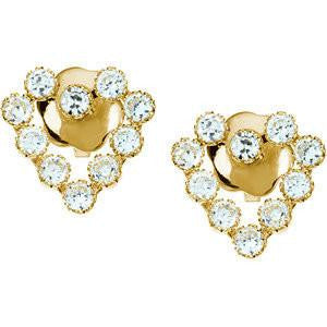 Cubic Zirconia Earrings- 0.30 Carat CZ Heart Shaped Stud Kids Earring Set