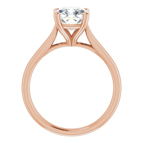 10K Rose Gold Customizable Cathedral-Prong Cushion Cut Solitaire