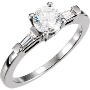 Cubic Zirconia Engagement Ring- The Maeve (Customizable 3-stone with Dual Baguettes)