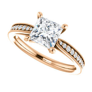 CZ Wedding Set, featuring The Brooklynn engagement ring (Customizable Princess Cut with Cathedral Setting and Milgrained Pavé Band)