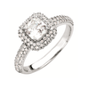 Cubic Zirconia Engagement Ring- The Kendall (1.7 Carat TCW Asscher Cut Halo with Accented Band)