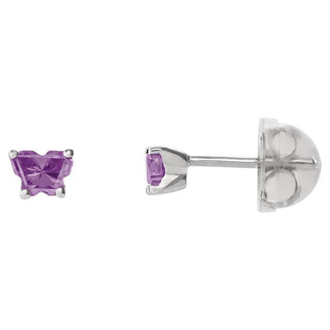 Butterfly birthstone earrings in 14K White Gold for December