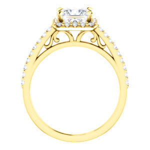 Cubic Zirconia Engagement Ring- The Sunshine (Customizable Princess Cut Halo Design with Vintage Cathedral Trellis and Thin Pavé Band)