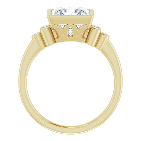 10K Rose Gold Customizable 7-stone Princess/Square Cut Style with Triple Round-Bezel Accent Cluster Each Side