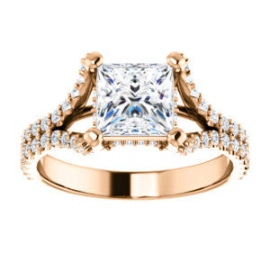 Cubic Zirconia Engagement Ring- The Marilyn (Customizable Cathedral-set Princess Cut Center with Split-Pavé Band and Prong Accents)