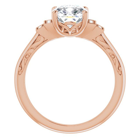 10K Rose Gold Customizable Engraved Design with Cushion Cut Center and Perpendicular Band Accents