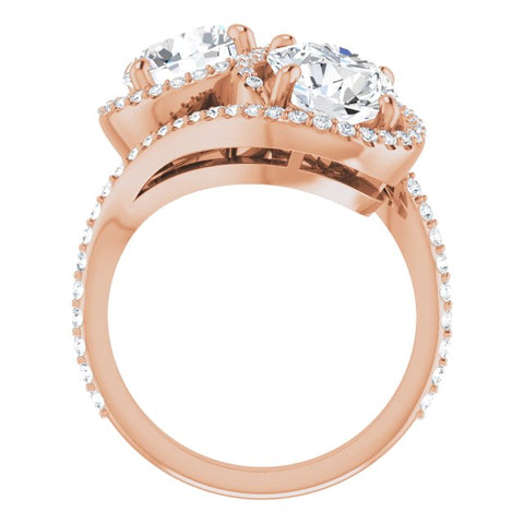 10K Rose Gold Customizable Double Round Cut 2-Stone Style Enhanced with Accented Artisan Bypass Band