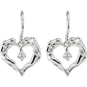 Cubic Zirconia Earrings- 0.10 Carat Universal Love® Solitaire Heart Design Dangle Earring Set