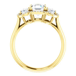Cubic Zirconia Engagement Ring- The Carissa (Customizable Asscher Cut 3-stone Halo Style with Oval Accents)