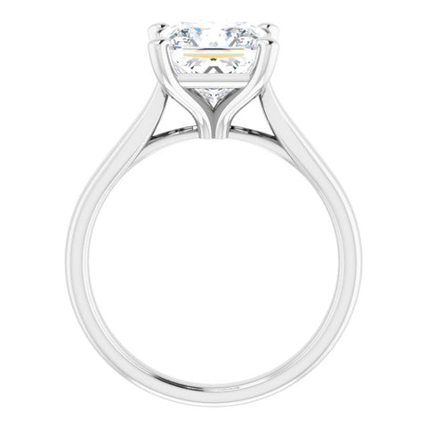 10K Rose Gold Customizable Cathedral-Prong Princess/Square Cut Solitaire