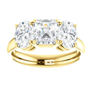 Cubic Zirconia Engagement Ring- The Rita (Customizable Asscher Cut Three-stone Style with Dual Oval Cut Accents)