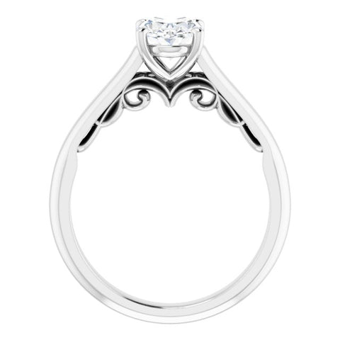14K White & Yellow Gold Customizable Oval Cut Cathedral Solitaire with Two-Tone Option Decorative Trellis 'Down Under'