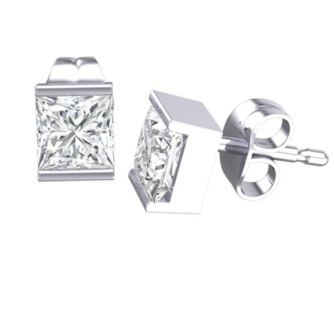 Cubic Zirconia Earrings- 1.50 Carat Channel Set Princess Cut Earring Set