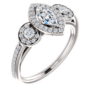 Cubic Zirconia Engagement Ring- The Téa (Marquise Cut Customizable 3-Stone Cathedral-Halo with Accented Band)
