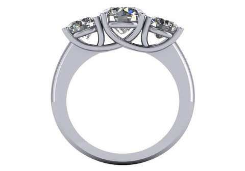 Cubic Zirconia Engagement Ring- The ________ Naming Rights 1446 (4.0 TCW Three-Stone Ring with Round Center and Heart Cut Accents)