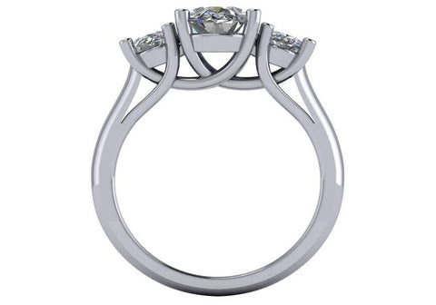 Cubic Zirconia Engagement Ring- 3.0 TCW Three-Stone Oval Cut with Woven Prongs