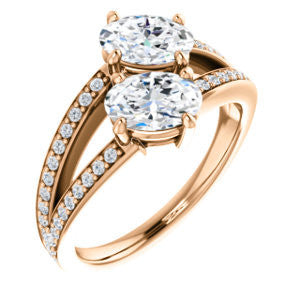 Cubic Zirconia Engagement Ring- The Valentina (Customizable 2-stone Double Oval Cut Design with Wide Split-Pavé Band)