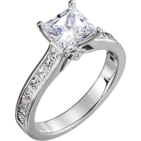 CZ Wedding Set, Style 121-593 feat The Estella Engagement Ring (Customizable Center with Princess Channel)
