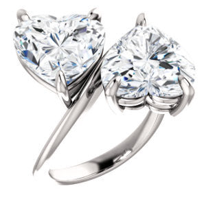 Cubic Zirconia Engagement Ring- The Patti (Customizable Heart Cut 2-stone Bypass Style)