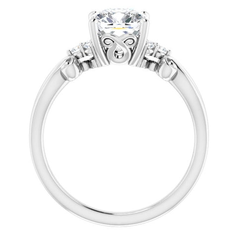 10K Rose Gold Customizable 7-stone Cushion Cut Design with Tri-Cluster Accents and Teardrop Fleur-de-lis Motif