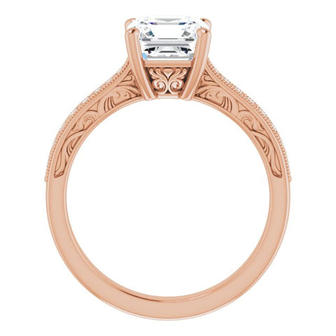 10K Rose Gold Customizable Asscher Cut Design with Round Band Accents and Three-sided Filigree Engraving