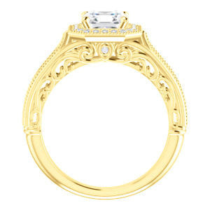 Cubic Zirconia Engagement Ring- The Zöe (Customizable Vintage Asscher Cut Greek Goddess Design)
