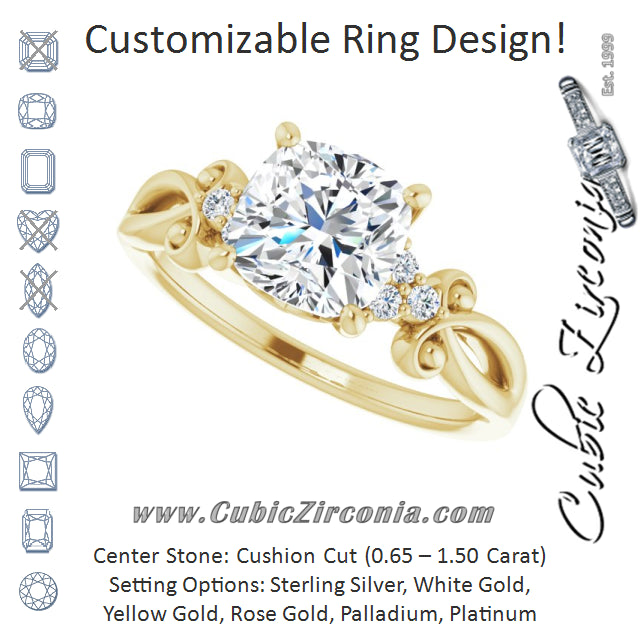 Cubic Zirconia Engagement Ring- The Adele (Customizable 7-stone Cushion Cut Design with Tri-Cluster Accents and Teardrop Fleur-de-lis Motif)
