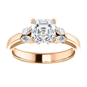 Cubic Zirconia Engagement Ring- The Melitza (Customizable Asscher Cut 5-stone with Marquise Accents)