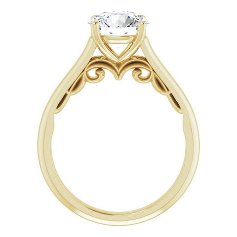 14K Rose & White Gold Customizable Round Cut Cathedral Solitaire with Two-Tone Option Decorative Trellis 'Down Under'