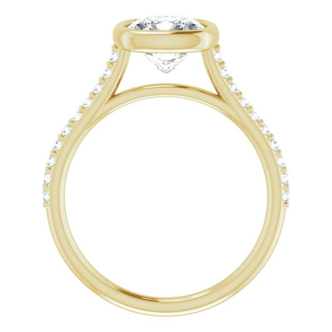 10K Rose Gold Customizable Bezel-set Cushion Cut Style with Ultra-thin Pavé-Accented Band