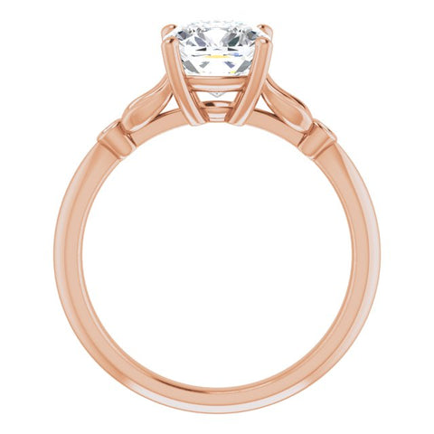 10K Rose Gold Customizable 3-stone Cushion Cut Design with Thin Band and Twin Round Bezel Side Stones