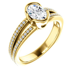 Cubic Zirconia Engagement Ring- The Monami (Customizable Bezel Oval Cut with Split-pavé Band Accents & Euro Shank)