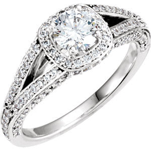 Cubic Zirconia Engagement Ring- The Simone (Customizable Bezel-set Round Cut with Halo and Split-Pavé Band)