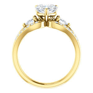 Cubic Zirconia Engagement Ring- The Karen (Customizable Enhanced 3-stone Design with Heart Cut Center, Dual Trillion Accents and Wide Pavé-Split Band)