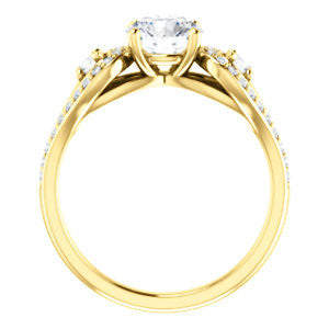 CZ Wedding Set, featuring The Tonya Laverne engagement ring (Customizable Round Cut Design with Winged Split-Pavé Band)