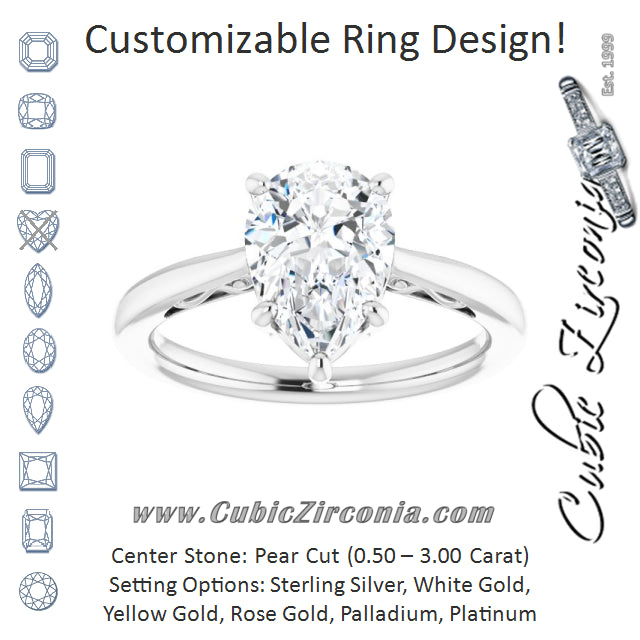 Cubic Zirconia Engagement Ring- The Abbey Ro (Customizable Pear Cut Solitaire with 'Incomplete' Decorations)