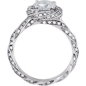 Cubic Zirconia Engagement Ring- The ________ Naming Rights 69-818 (Round or Asscher Cut Twisted Floral-Inspired Halo)