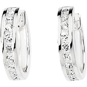 Cubic Zirconia Earrings- 0.50 Carat Round Channel Set Hinged Hoop Earring Set