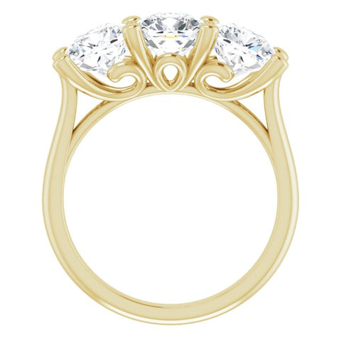 10K Rose Gold Customizable Triple Cushion Cut Design with Thin Band