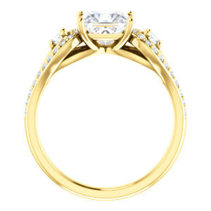 CZ Wedding Set, featuring The Tonya Laverne engagement ring (Customizable Princess Cut Design with Winged Split-Pavé Band)