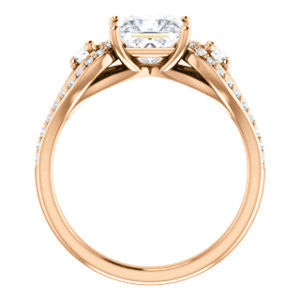 Cubic Zirconia Engagement Ring- The Tonya Laverne (Customizable Princess Cut Design with Winged Split-Pavé Band)
