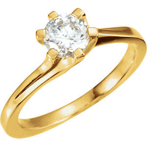 Cubic Zirconia Engagement Ring- The Cassidy (0.16-1.0 Carat Round 6-prong Solitaire)