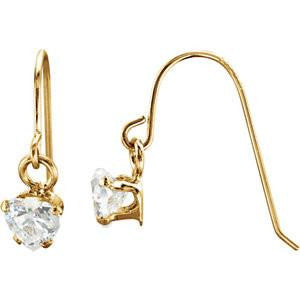 Cubic Zirconia Earrings- 0.50 Carat Heart Cut CZ Dangle Hook Back Earring Set