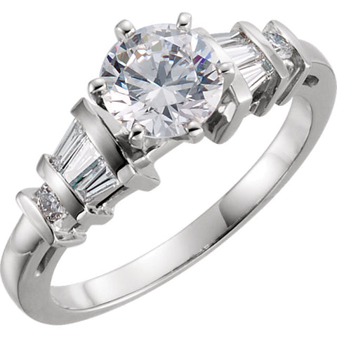 Cubic Zirconia Engagement Ring- The Lorraine (Customizable 9-stone with Round & Baguette Channel Accents)