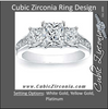 Cubic Zirconia Engagement Ring- The ________ Naming Rights 0123 (1.25 Carat 3-Stone Cathedral-set Princess Cut with Channel Setting)