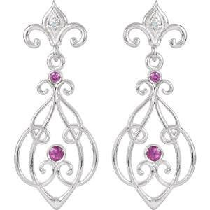 Cubic Zirconia Earrings- 0.12 Carat Fleur De Lis Inspired Decorative Dangle Earring Set with Genuine Red Ruby