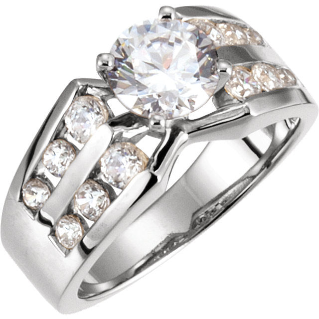 Cubic Zirconia Engagement Ring- The Marjorie (Customizable Center featuring Wide Band with Double-Row Round Channel Accents)