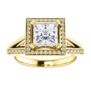 Cubic Zirconia Engagement Ring- The Loren (Customizable Princess Cut Halo Design featuring Three-sided Twisting Pavé Split Band)